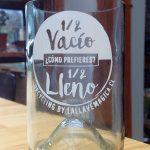 Vaso de botella Medio vacío Medio lleno