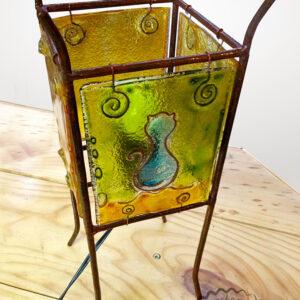 lámpara vidrio, cobre, fierro